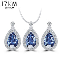17KM Fashion Blue Crystal Water Drop Jewelry Set Necklace set African Beads Charms Maxi Earrings Statement  Wedding Jewelry Set - Raja Indonesia