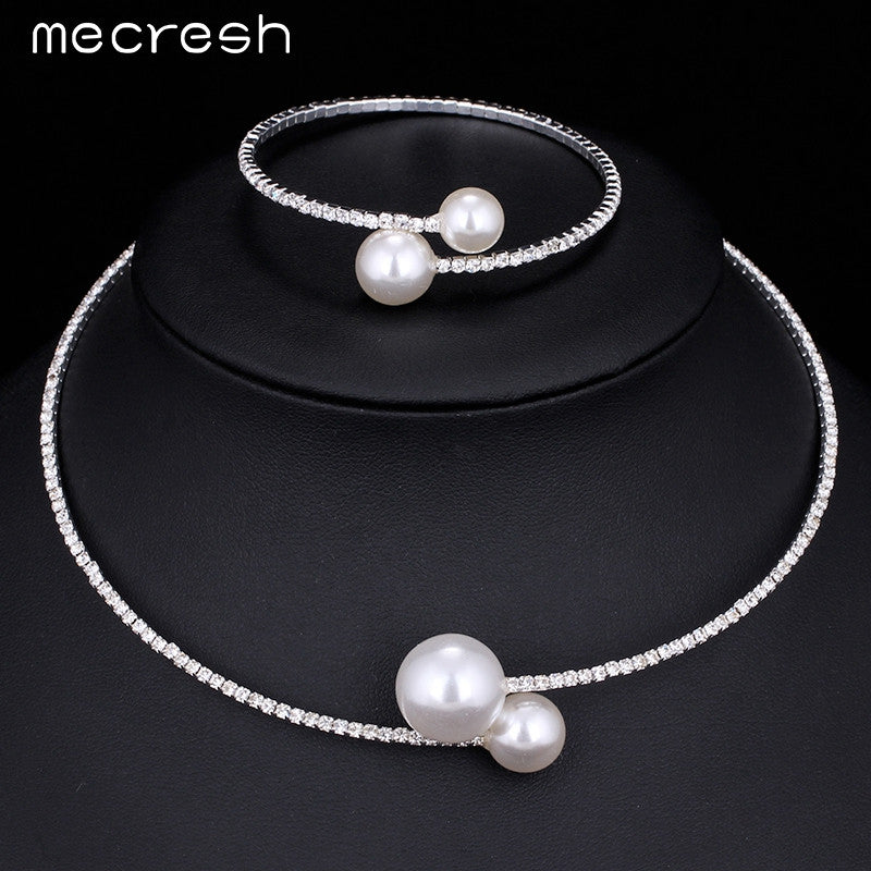 Mecresh Simple Crystal Simulated Pearl Jewelry Sets Fashion Choker Nec