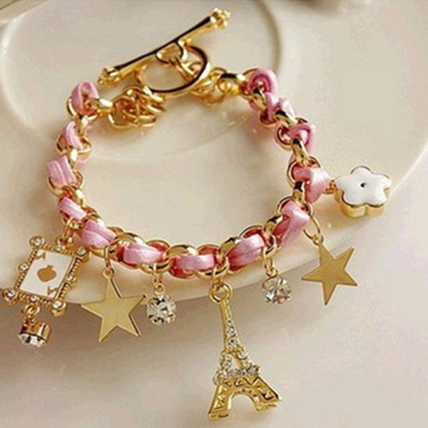 2016 NEW Fashion Rope Chain Decoration Bracelet For Girl  multicolor Eiffel Tower star poker Pendant Bangle Wholesale - Raja Indonesia