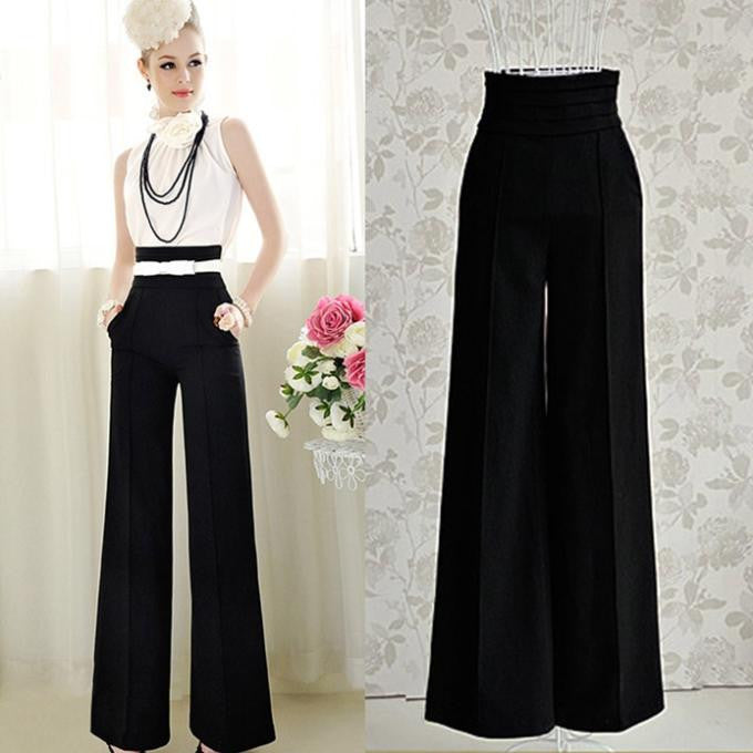 2016 Hot Sale Loose Zipper Fly Solid Pantalones New Women Casual High Waist Flare Wide Leg Long Pants Palazzo Trousers - Raja Indonesia