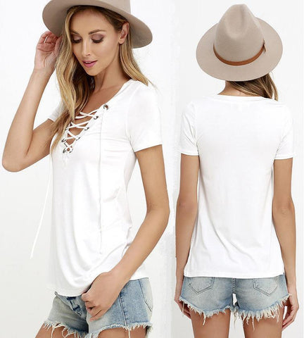 New Fashion Summer Women TShirts 2016 Sexy Deep V Neck Bandage Shirts White Tops&Tees Large Size S-XXXL - Raja Indonesia