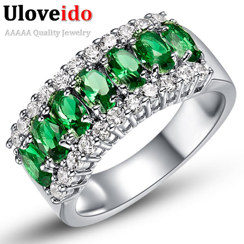 Uloveido Valentine's Day Gift Womens Silver Plated Red Wedding Large Colored Ring Red Green Zircon Sets Ringen Jewelry 2016 J501