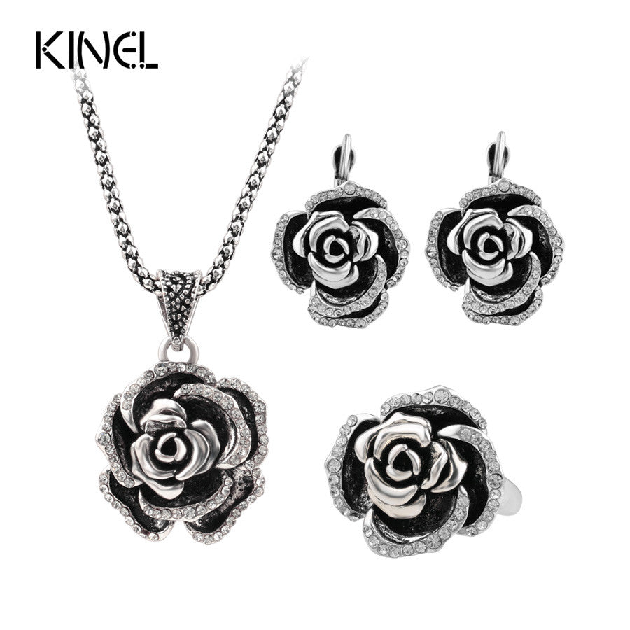 Luxury Vintage Women's Wedding Jewelry Sets Plating Silver Turkey Crystal Roses Ring Earring And Pendant Necklace For Women
