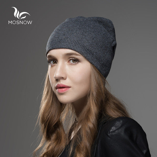 258f3c15f5a ... Mosnow 2016 New Solid Wool Winter Hats For Women Asymmetrical Knitted  Vogue Brand Casual Warm Hat ...