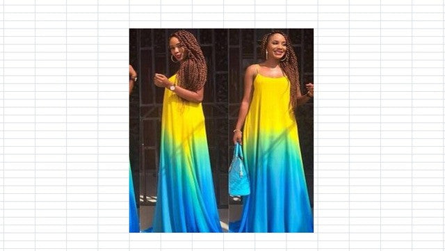 a515e89522e ... Women Sexy Summer Gradient Plus size Maxi Dress Party Dress Beach Long  Multicolor Sundress