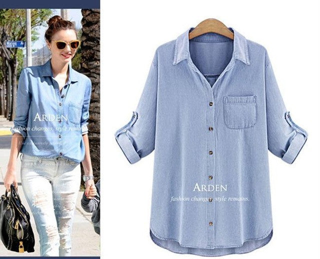 2939cf1c17f ... 2016 new kimono fashion loose cardigan denim shirt Women s plus size  5xl Vintage long sleeve turn ...