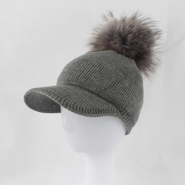 ab4be624be3 2017 New Real Fur Pom pom Cap For Women Spring Autumn Baseball Cap With Raccoon  Fur