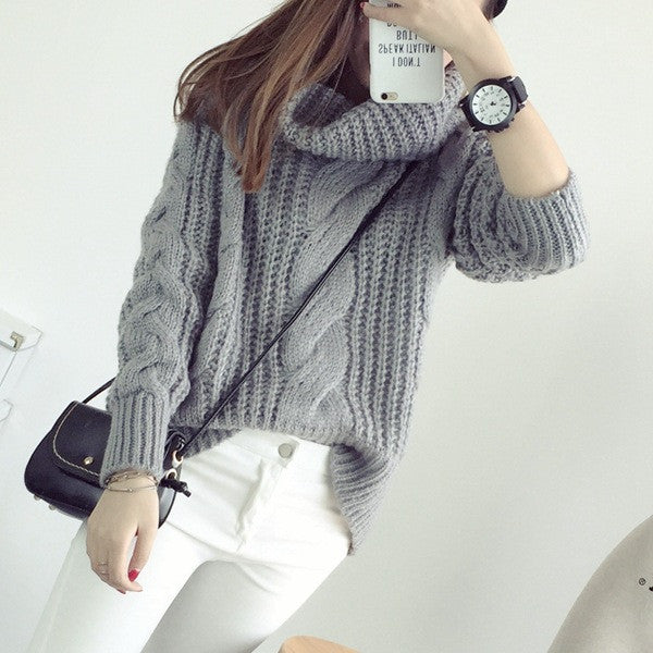 ... Korea Ladies Winter Sweaters and Pullovers Turtleneck Oversized  Sweaters Women Solid Loose Thick Warm Knitted Sweater ... ffb6147e6