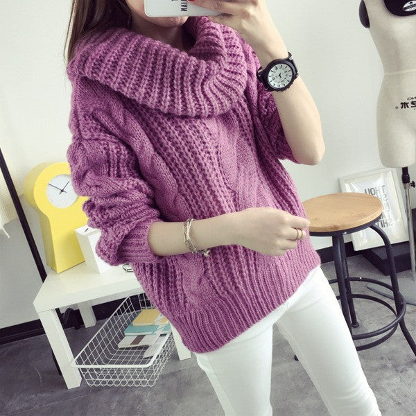 64e42b318 ... Korea Ladies Winter Sweaters and Pullovers Turtleneck Oversized  Sweaters Women Solid Loose Thick Warm Knitted Sweater ...
