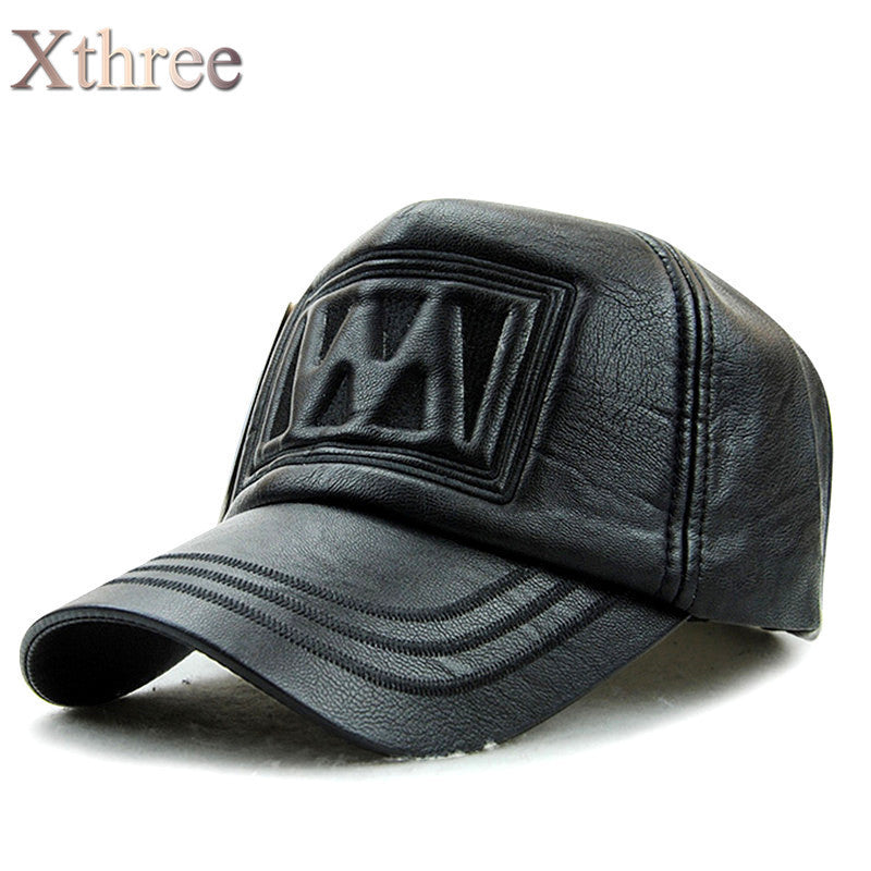 38d5aa99639c9 xthree New fall winter fashion high quality faux leather baseball cap  snapback hat for men women casual hat wholesale