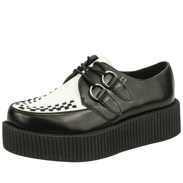 V6804 BLACK AND WHITE LEATHER VIVA CREEPER