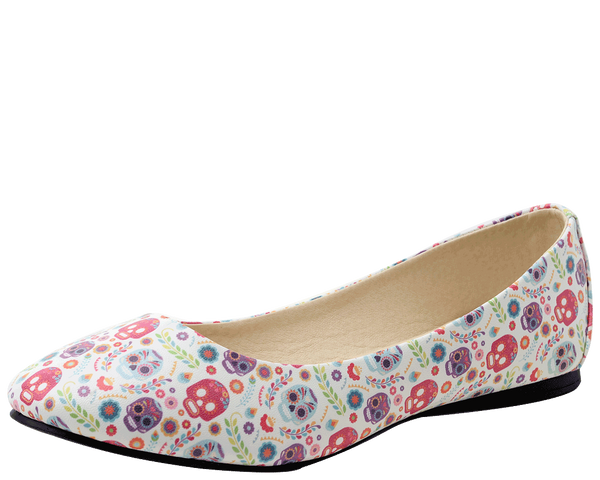 A9038L - DITSY DAY OF THE DEAD PATTERN VEGAN FLATS