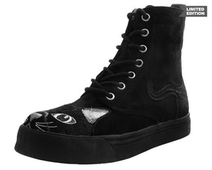 A9345L - Vegan Black Faux Suede Embroidered Kitty Sneaker Boot