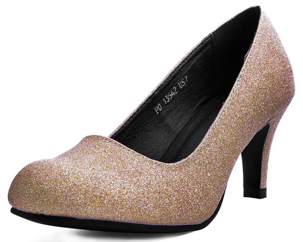 A9390L - ROSE GOLD GLITTER ANTI POP KITTEN HEEL