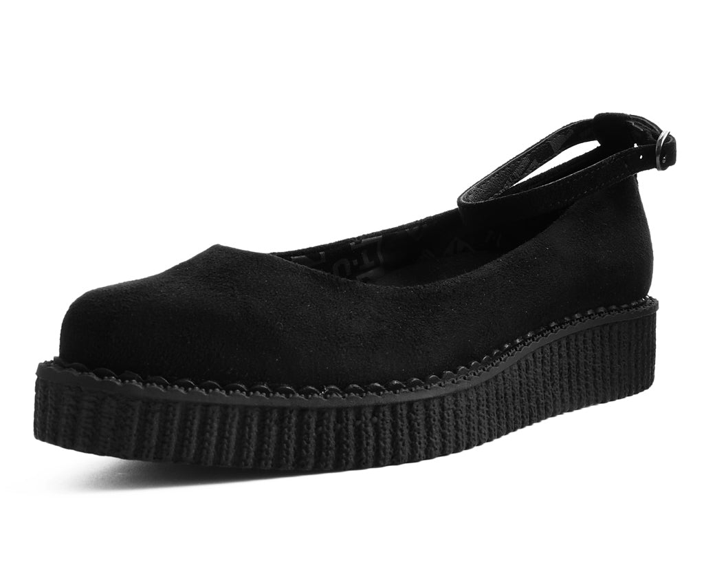 A9416L - Black Pointed Ballet Ankle Strap Creeper