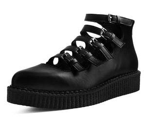 A9417L - Black TUKskin™ Multi-Strap Pointed Mary Jane Creeper