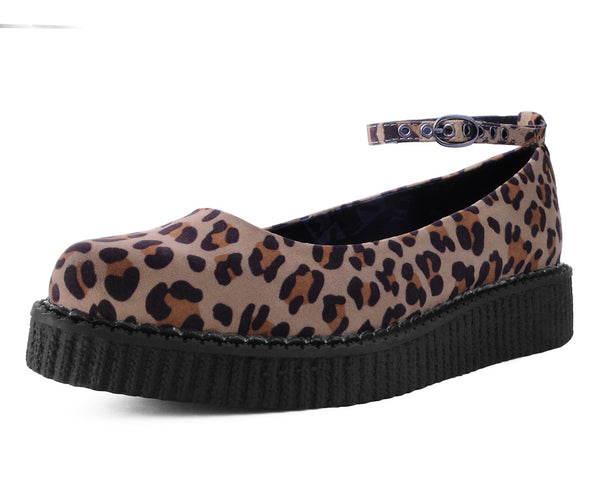 A9541L - LEOPARD ANKLE STRAP BALLET CREEPER