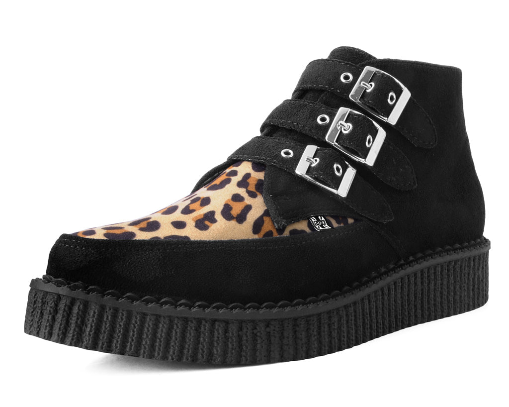 A9639 - Leopard Vamp 3 buckle Point Toe Creeper