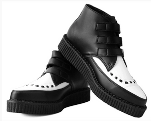 A9540 - Black & White TUKskin 3-Buckle Pointed Creeper Boot