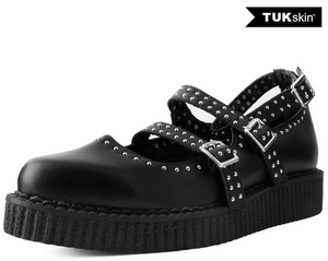 A9509L - Black TUKskin Studded Pointed Ballet Creeper