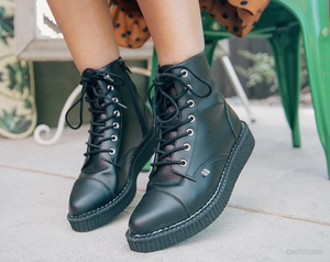 A9636 - Black TUKskin Pointed Lace Up Boot