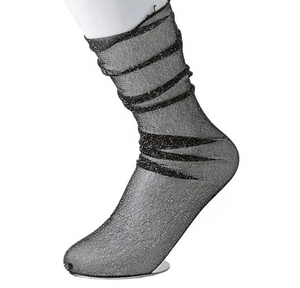 TUKTSK1012 - BLACK METALLIC SHEER MESH SOCK