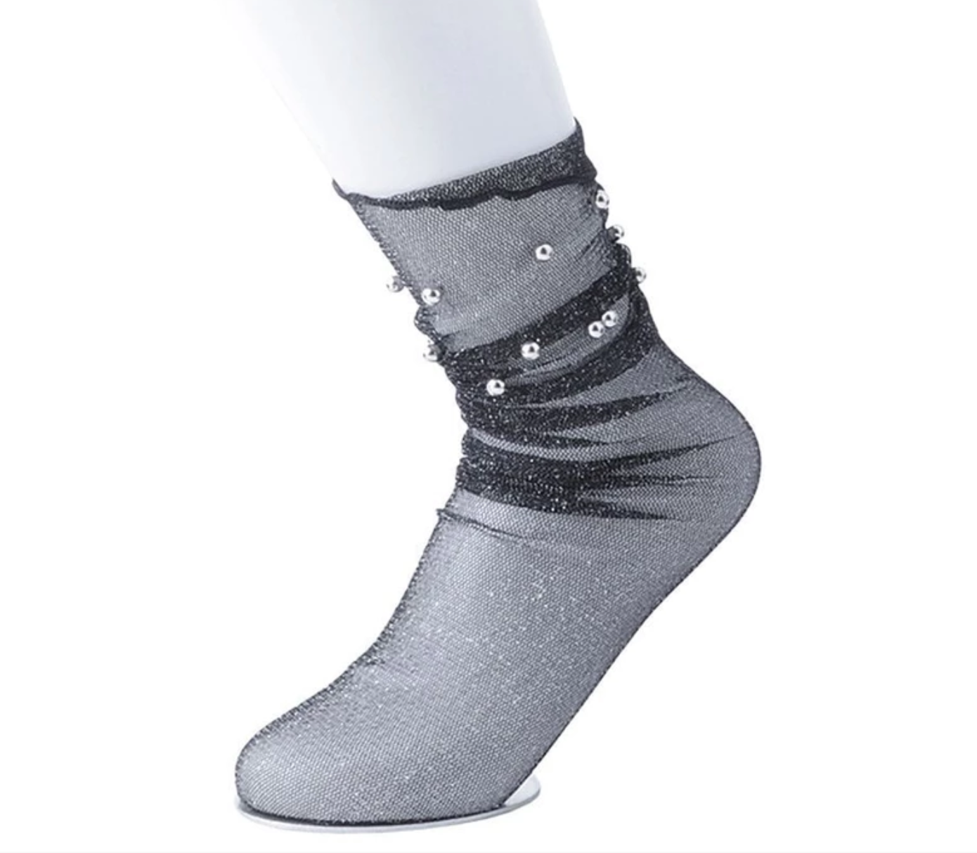 TUKTSK1015 - SILVER BALL EMBELLISHED METALLIC GREY MESH SOCK