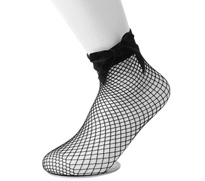 TUKTSK1052 - BLACK FISHNET & RIBBON BOW SOCKS