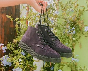 A9632 - Plum Leopard Point Toe Creeper Boot