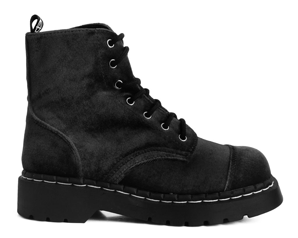 T2284 - Womens 7 Eyelet Black Velour Anarchic Stomper Boot