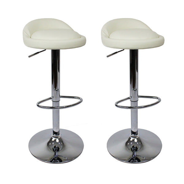 BS02 Low Bar Stool (White) Set of 2