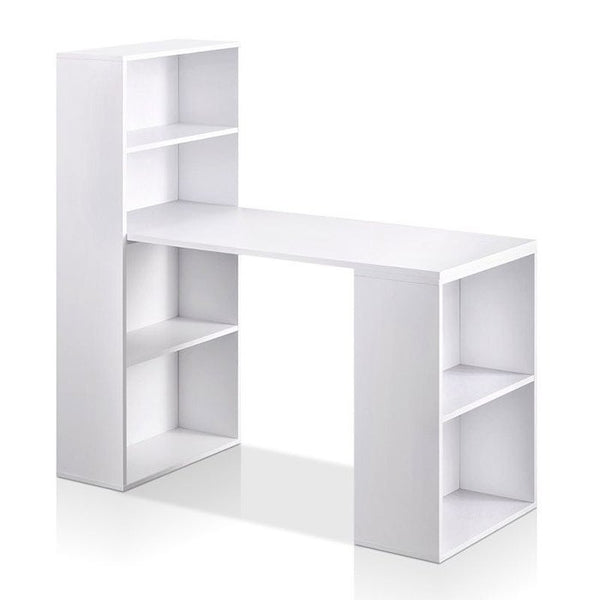 W01 Wood Computer Desk with Shelf - Modern White