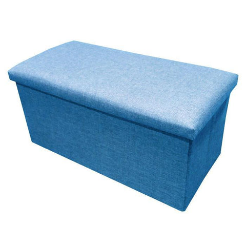 C01 Canvas Foldable Storage Ottoman (Large) - Blue