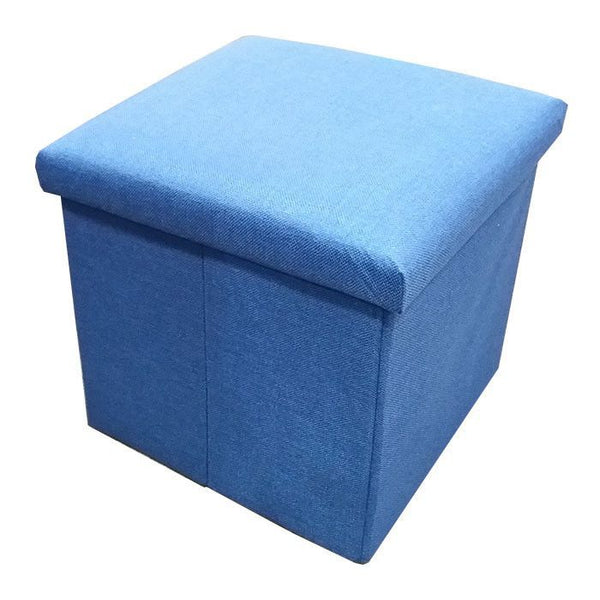 C01 Canvas Foldable Storage Ottoman (Small) - Blue