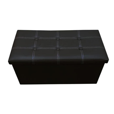 P01 PU Foldable Storage Ottoman (Large) - Black