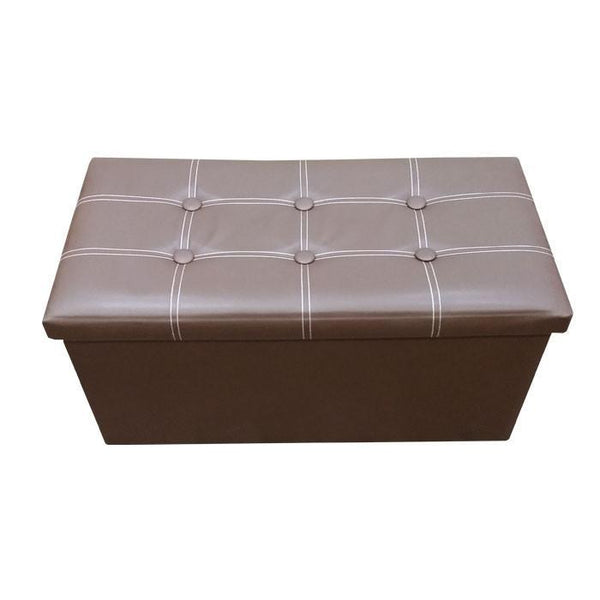 P01 PU Foldable Storage Ottoman (Large) - Brown