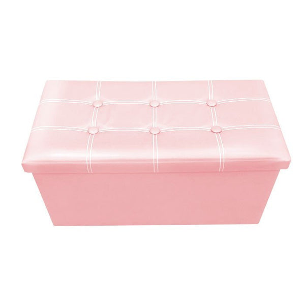 P01 PU Foldable Storage Ottoman (Large) - Pink
