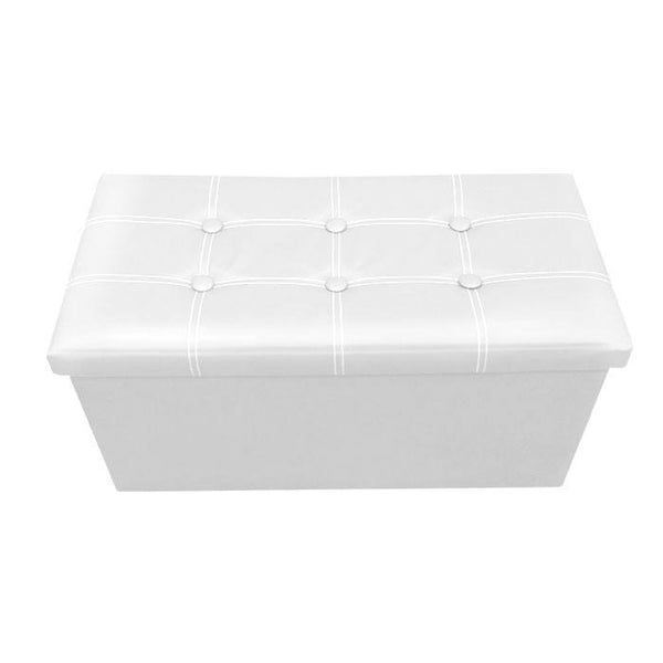 P01 PU Foldable Storage Ottoman (Large) - White