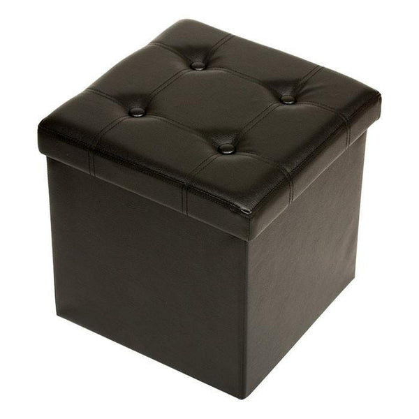 P01 PU Foldable StorageOttoman (Small) - Black