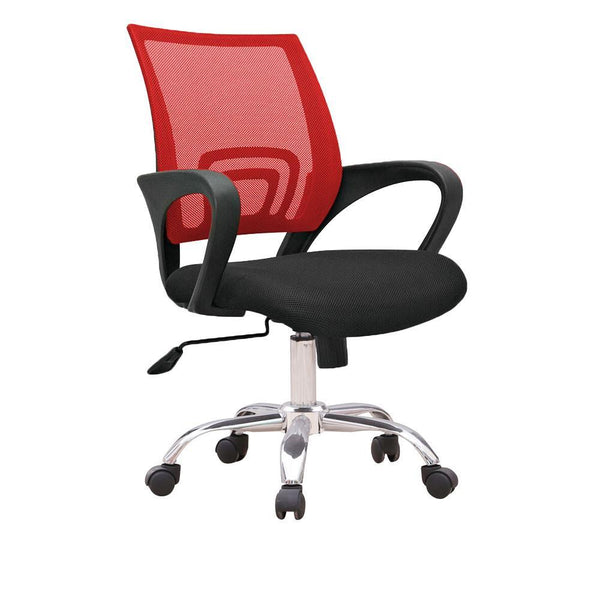C12 Ergonomic Officer Chair with metal base (Red)
