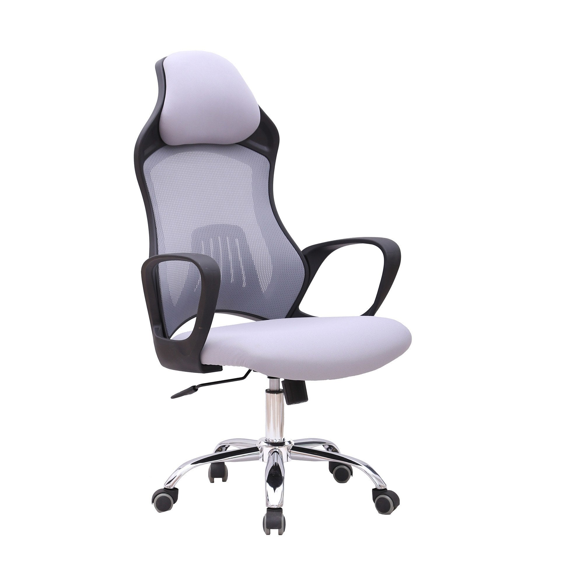 executive shipping garden free grey fabric today home chair high overstock office product homcom light gray back