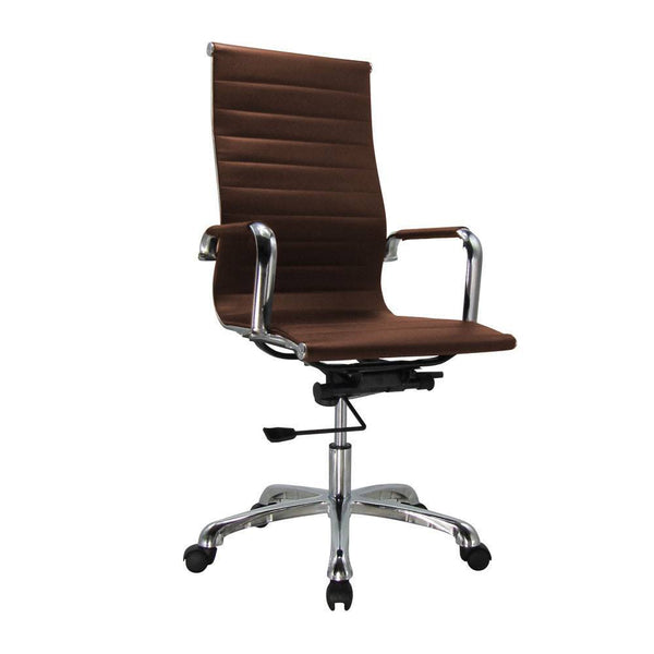 Premium Officer Chair With Faux Leather - Brown 906A