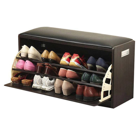S01 Ottoman with Shoe Cabinet (Large) - Black