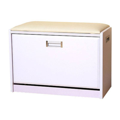 S01 Ottoman with Shoe Cabinet (Medium) - White