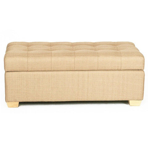 W01 Canvas Wood Storage Ottoman - Large - Beige