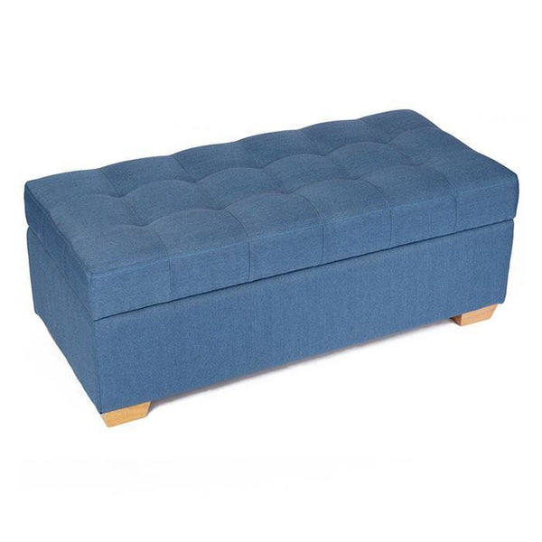 W01 Canvas Wood Storage Ottoman - Large - Blue