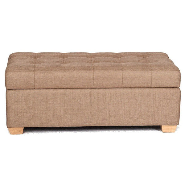 W01 Canvas Wood Storage Ottoman - Large - Light Brown