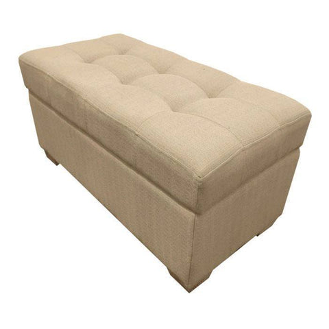 W01 Canvas Wood Storage Ottoman - Medium - Beige
