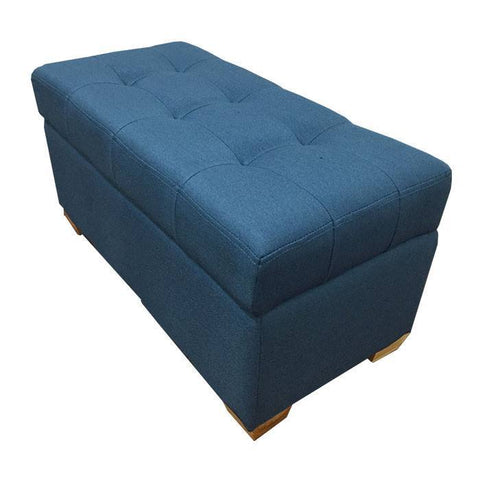 W01 Canvas Wood Storage Ottoman - Medium - Blue