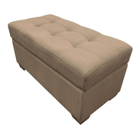 W01 Canvas Wood Storage Ottoman - Medium - Light Brown